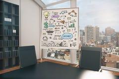 Whiteboard met bedrijfsschets Royalty-vrije Stock Foto's