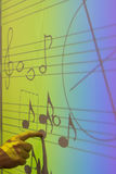 Whiteboard with music notes stock images