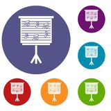 Whiteboard with music notes icons set Royalty Free Stock Image