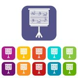 Whiteboard with music notes icons set flat Royalty Free Stock Photography