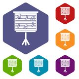 Whiteboard with music notes icons set hexagon Stock Photography