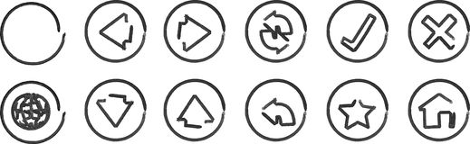 Whiteboard navigation icons Royalty Free Stock Image