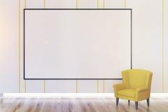 Whiteboard och fåtölj, slut upp Royaltyfria Bilder