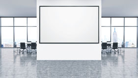 Whiteboard in office interior. Interior of office with whiteboard and New York City view. Desks with black armchairs on background. Concept of fresh ideas. 3d Royalty Free Stock Image