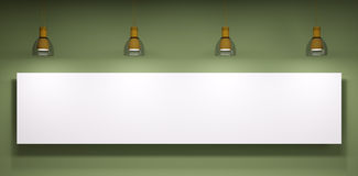 Whiteboard over the green wall Royalty Free Stock Images