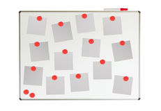 Whiteboard with papers and magnets. Isolated on white Royalty Free Stock Images