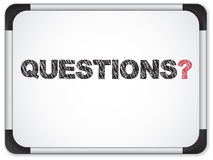 Whiteboard with Questions Message Stock Images