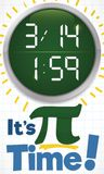 Round Button with the Time and Hour for Pi Day, Vector Illustration vector illustration