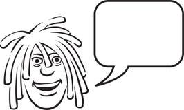 Whiteboard rysunek - dreadlocks stawiają czoło z mowa bąblem royalty ilustracja