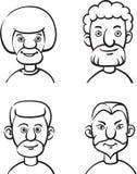 Whiteboard rysunek - set cztery portreta brodaci mężczyzna royalty ilustracja