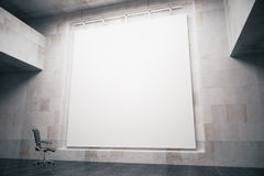Whiteboard side. Side view of blank whiteboard in concrete interior with swivel-chair. Mock up, 3D Render Stock Photo