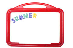 Whiteboard with summer label Royalty Free Stock Photos
