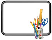 Whiteboard with Supplies for Home, School and Office royalty free stock photo