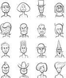 Whiteboard teckning - den olika roliga vektorn vänder mot samlingen royaltyfri illustrationer