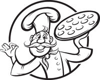 Whiteboard teckning - maskot för tecknad filmpizzakock royaltyfri illustrationer