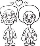 Whiteboard teckning - svart man för par för tecknad filmavatarförälskelse och bl stock illustrationer