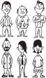 Whiteboard teckning - tecknad filmdiagram av kontorsfolk och missfoster vektor illustrationer