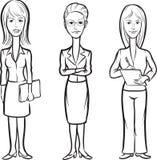 Whiteboard teckning - tecknad filmdiagram av kontorskvinnor vektor illustrationer