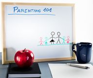 A whiteboard used for parenting classes and sex education in highschool or university. stock images