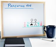 A whiteboard used for parenting classes and sex education in highschool or university. Stock Photos