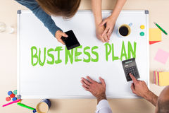 Whiteboard with word business plan Royalty Free Stock Photography