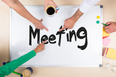 Whiteboard with word meeting Royalty Free Stock Images