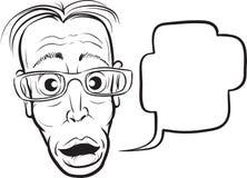 Whiteboard-Zeichnung - überraschtes dünnes Manngesicht lizenzfreie abbildung