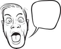Whiteboard-Zeichnung - überraschtes Manngesicht stock abbildung
