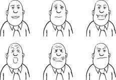 Whiteboard-Zeichnung - bärtiger Geschäftsmann in den verschiedenen Gefühlen vektor abbildung