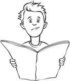 Whiteboard-Zeichnung - deprimierter Kerl mit Zeitung lizenzfreie abbildung