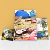 whiteboards的数位引起的图象的综合图象对橙色墙壁 库存图片
