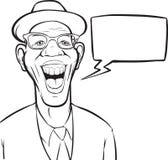 Whiteboardtekening - beeldverhaal lachende zwarte mens in hoed Stock Foto's