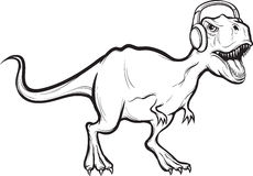 Whiteboardtekening - dinosaurus t -t-rex met hoofdtelefoons Stock Fotografie