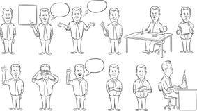 Whiteboardtekening - zakenman het werk cijfersinzameling vector illustratie