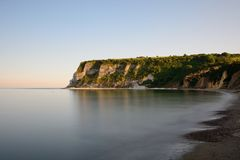 Whitecliff bay in the Isle of Wight. Long exposure of the beach at White cliff bay in the Isle of Wight Stock Images