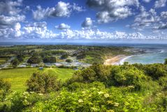 Whitecliff Bay Isle of Wight near Bembridge east of the island in vivid and bright HDR Royalty Free Stock Image