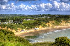Whitecliff Bay Isle of Wight near Bembridge east of the island in vivid and bright HDR Stock Image