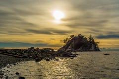 Whitecliff parkerar den västra Vancouver solnedgången Royaltyfri Bild