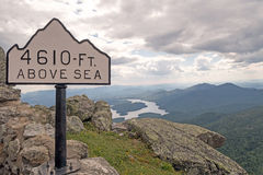 Whiteface Mountain trail elevation sign Stock Photos