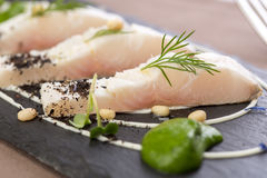 Whitefish fillet. Served on stone plate Stock Photos