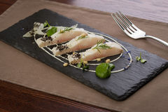 Whitefish fillet. Served on stone plate Royalty Free Stock Images
