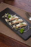 Whitefish fillet. Served on stone plate Royalty Free Stock Image