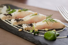 Whitefish fillet. Served on stone plate Royalty Free Stock Photo