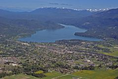 Whitefish Montana USA. Aerial view of the town of Whitefish Montana in Western USA Stock Image