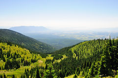 Whitefish Mountain. View from the top of Whitefish Mountain in Montana, with the mountains of Glacier National Park in the background Stock Image