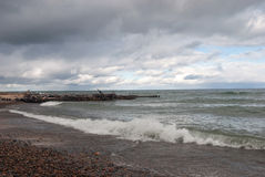 Whitefish Point Beach, Lake Superior, Chippewa County, Michigan, USA. The storm on Lake Superior in the area  Whitefish Point Beach, Chippewa County, Michigan Stock Images