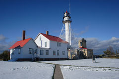 Whitefish Point Lighthouse. In Michigan on Lake Superior Royalty Free Stock Photo