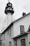 Whitefish Point lighthouse. Low angle exterior of Whitefish Point lighthouse, Lake Superior, Michigan, U.S.A Stock Photos