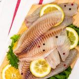 Whitefish Tilapia Fish Raw Fillet stock photos