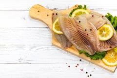Whitefish Tilapia Fish Raw Fillet stock image